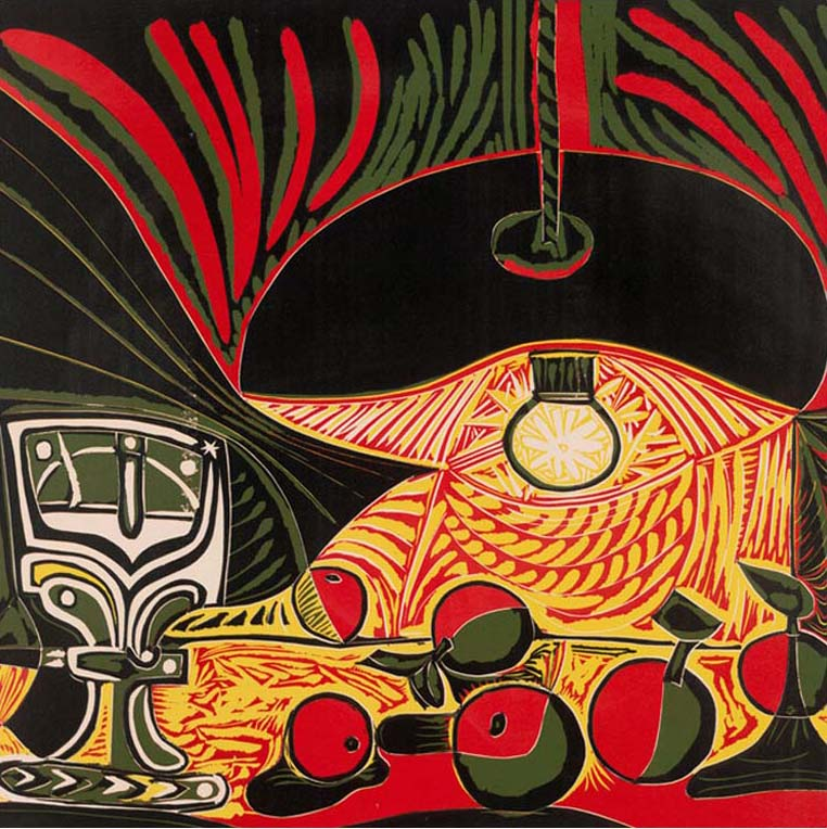 Pablo Picasso, Still Life under the Lamp, 1962, reduction printed by Hidalgo Arnéra